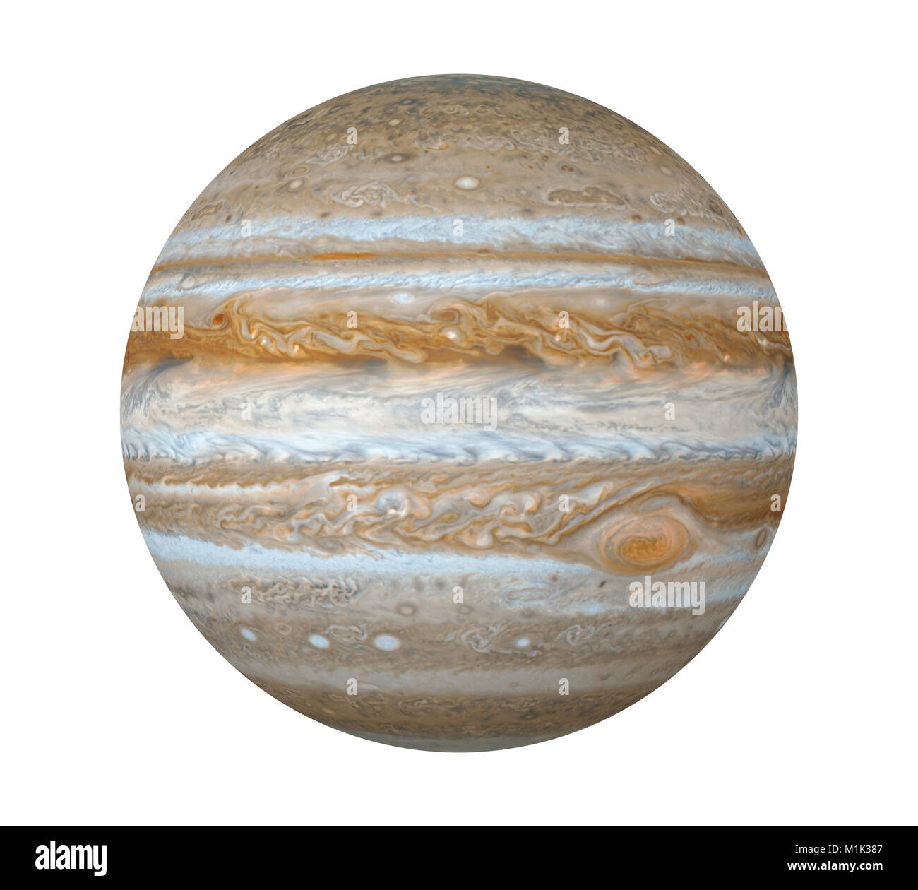Planet Jupiter Isolated (Elements of this image furnished by NASA) - Stock Image