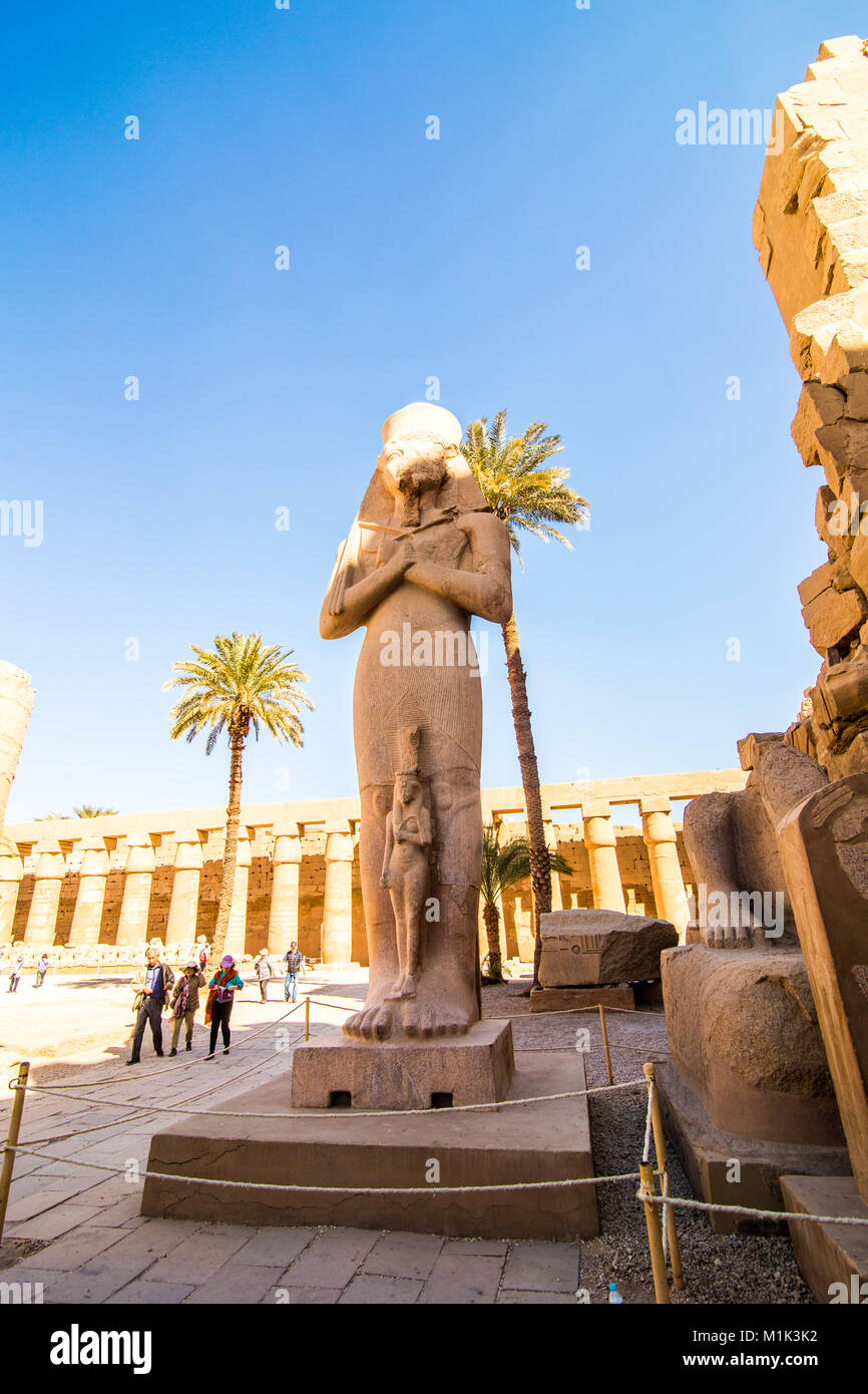 Statue in the temple of Karnak in Luxor Egypt - Stock Image