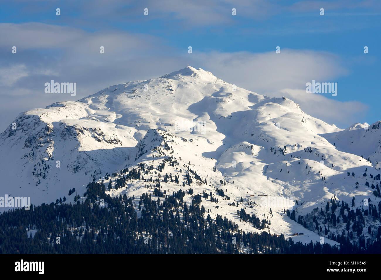 Snow-capped peak of the Gilfert in winter, Tux Alps, Tyrol, Austria - Stock Image