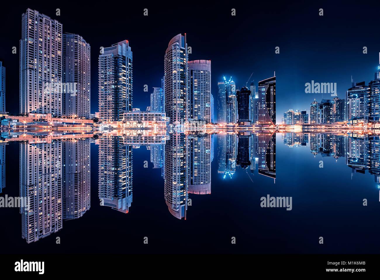 Dubai marina reflection by night - Stock Image