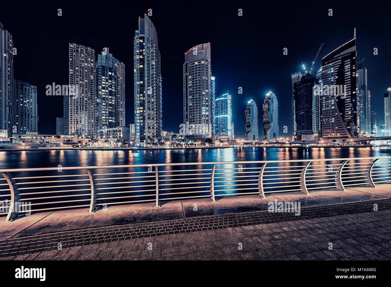 Dubai marina by night - Stock Image