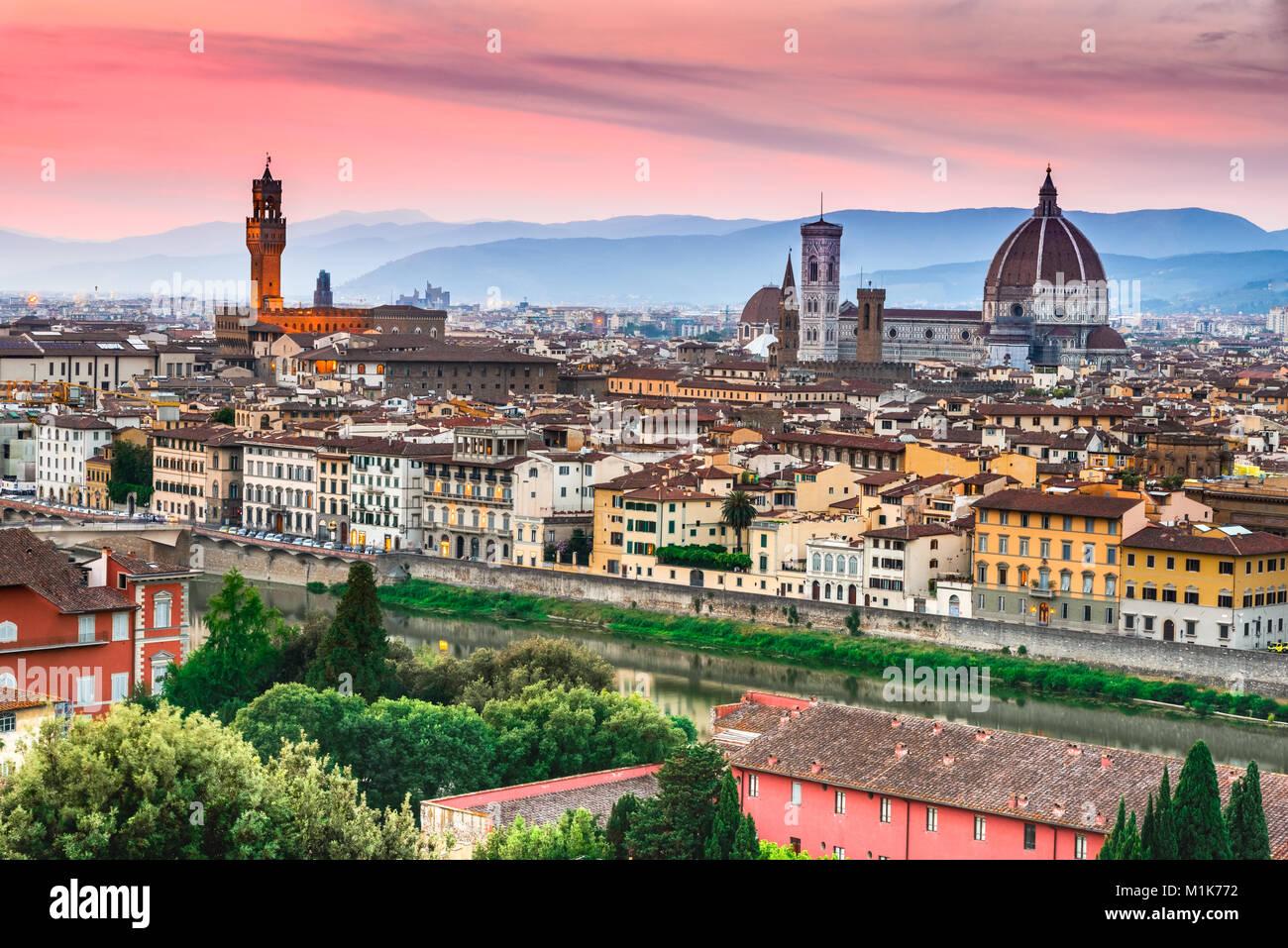 Florence, Tuscany - Night scenery with Duomo Santa Maria del Fiori and Palazzo Vecchio, Renaissance architecture - Stock Image