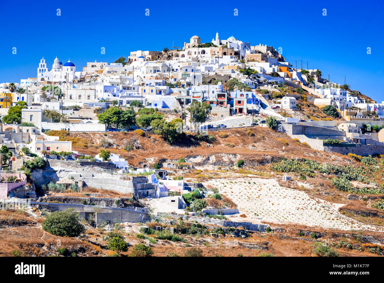 Pyrgos, Santorini. Famous attraction of white village with cobbled streets, Greek Cyclades Islands, Aegean Sea in - Stock Image