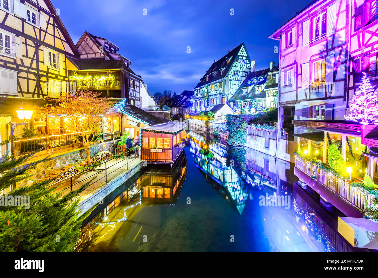Colmar, Alsace, France. Gingerbread houses add Christmas decoration of local craftsmen, famous in Europe. Stock Photo