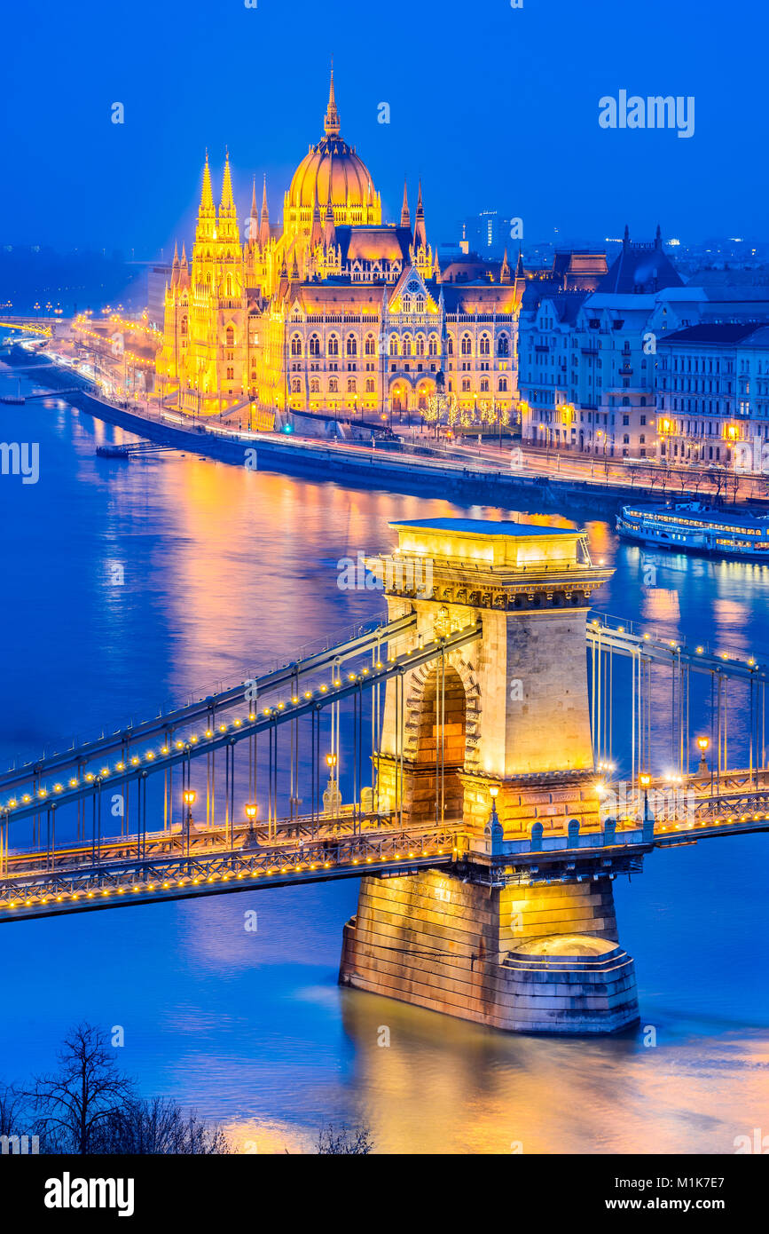 Budapest, Hungary. Szechenyi Chain Bridge and Hungarian Parliament Building over Danube River. Stock Photo