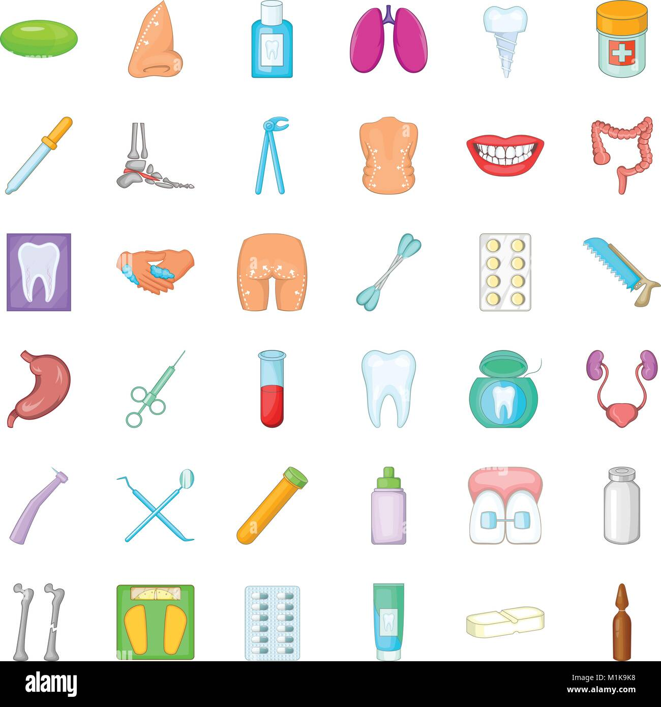Health issues icons set, cartoon style - Stock Vector