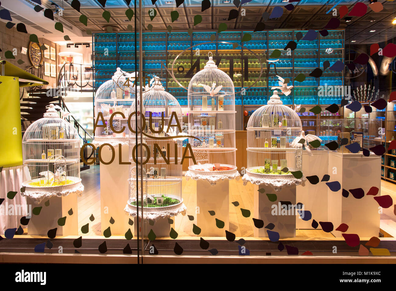 Germany, Cologne, the 4711 house at the Glockengasse, ancestral home of the perfume factory Muelhens, shop window - Stock Image