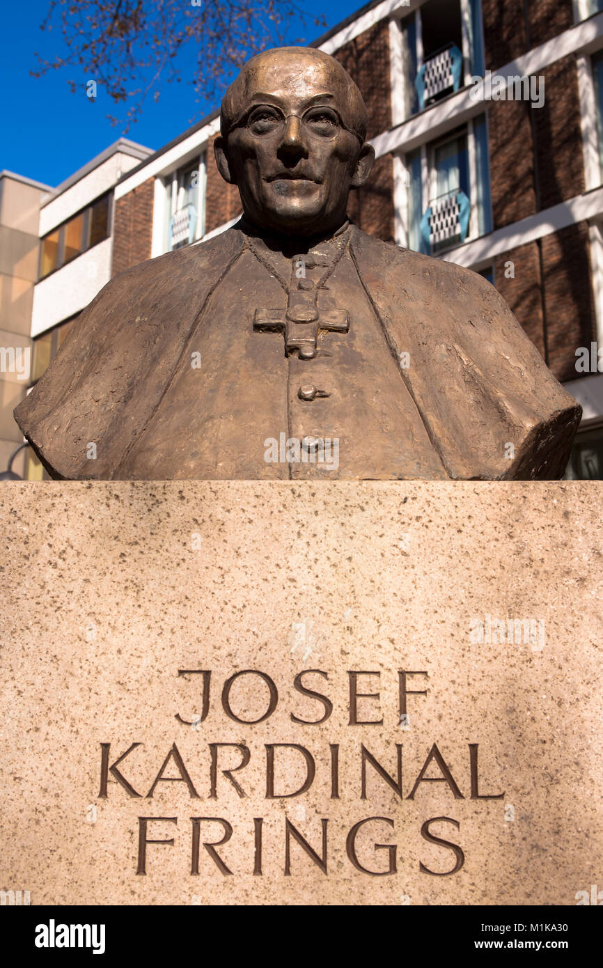 Germany, Cologne, monument for Josef Kardinal Frings, Archbishop of Cologne from 1942 to 1969 on the Laurenz square. Stock Photo