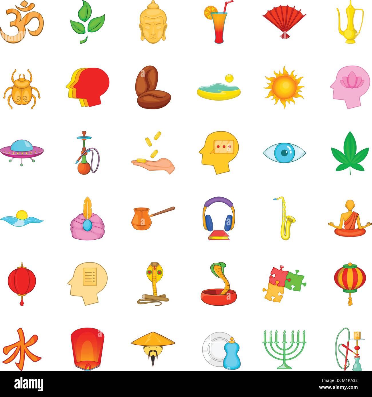 Contemplation icons set, cartoon style - Stock Vector