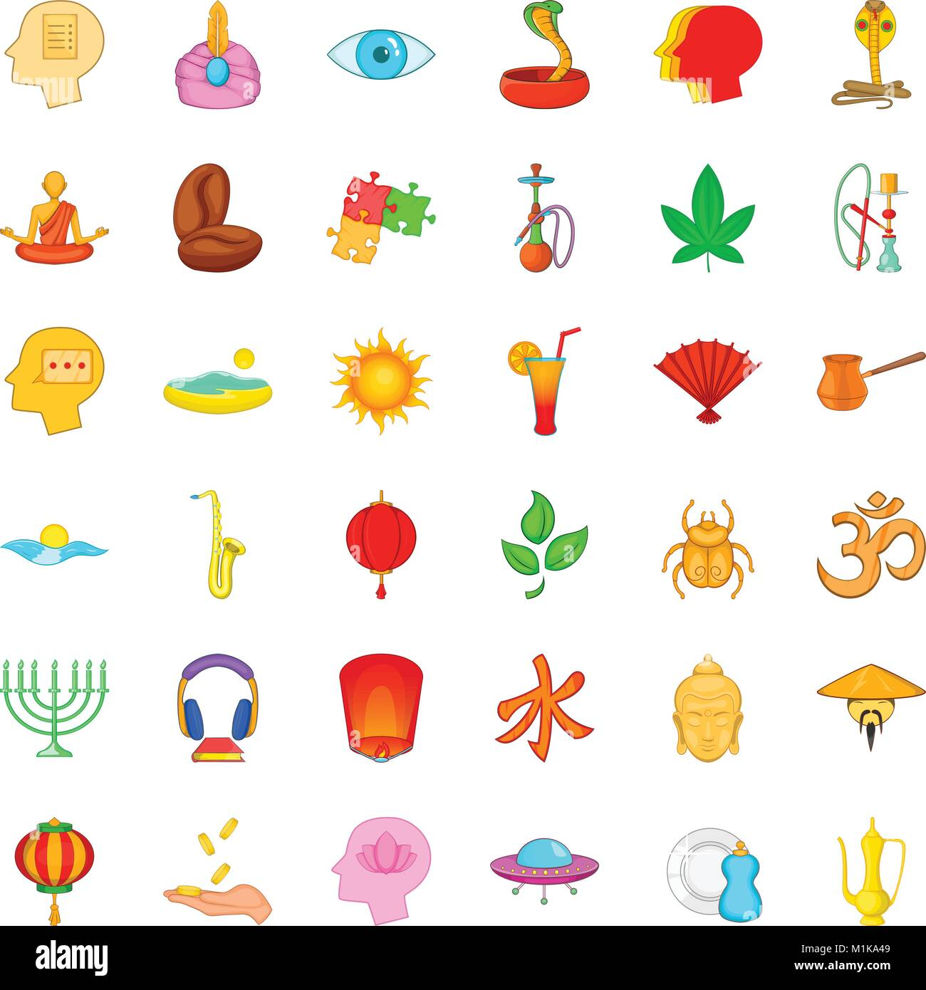 Meditation practice icons set, cartoon style - Stock Vector