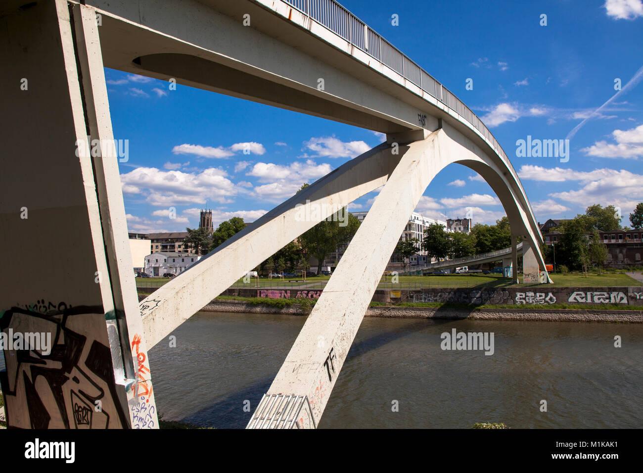 Germany, Cologne, pedestrian bridge at the harbor in the district Muelheim.  Deutschland, Koeln, Fussgaengerbruecke Stock Photo