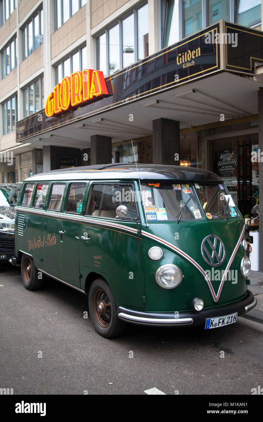 Germany, Koeln, Volkswagen T1, VW van, called Bulli in front of the Gloria theater at the Aposteln Street.  Deutschland, - Stock Image