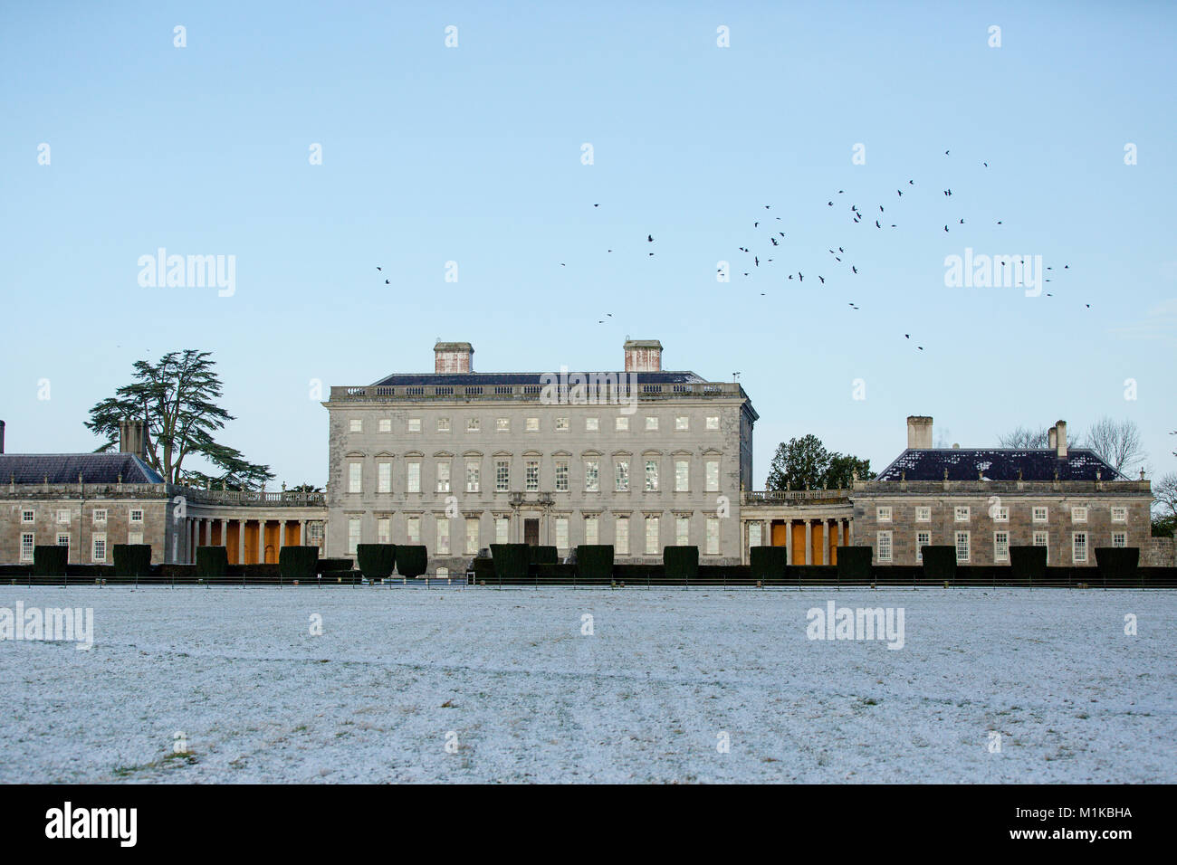 Castletown House and Parklands covered in snow on a cold January morning. Clear sky. Celbridge, County Kildare, - Stock Image