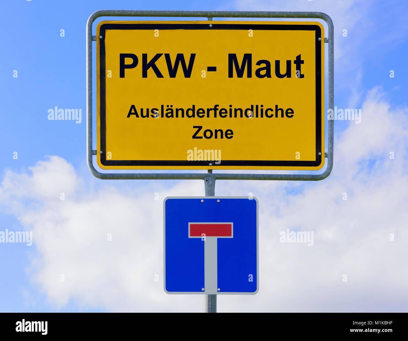 PKW-Maut als ausländerfeindliche Zone - Stock Image