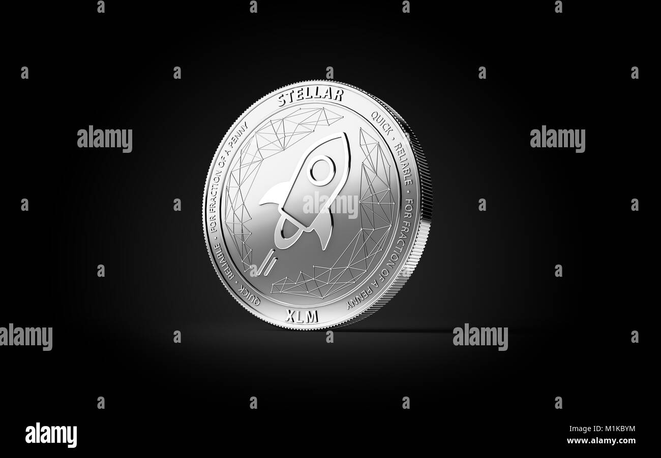 Silver STELLAR (XLM) cryptocurrency physical concept coin isolated on black background. 3D rendering - Stock Image