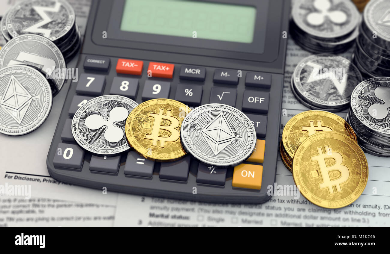 Cryptocurrency income tax calculation concept. Three popular cryptocurrencies laying on the calculator keyboard. Stock Photo