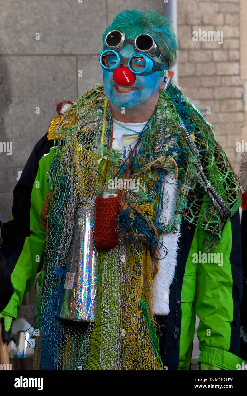 Europe, Germany, North Rhine-Westphalia, Cologne, carnival, costumed jester at the historic town-hall.  Europe, - Stock Image