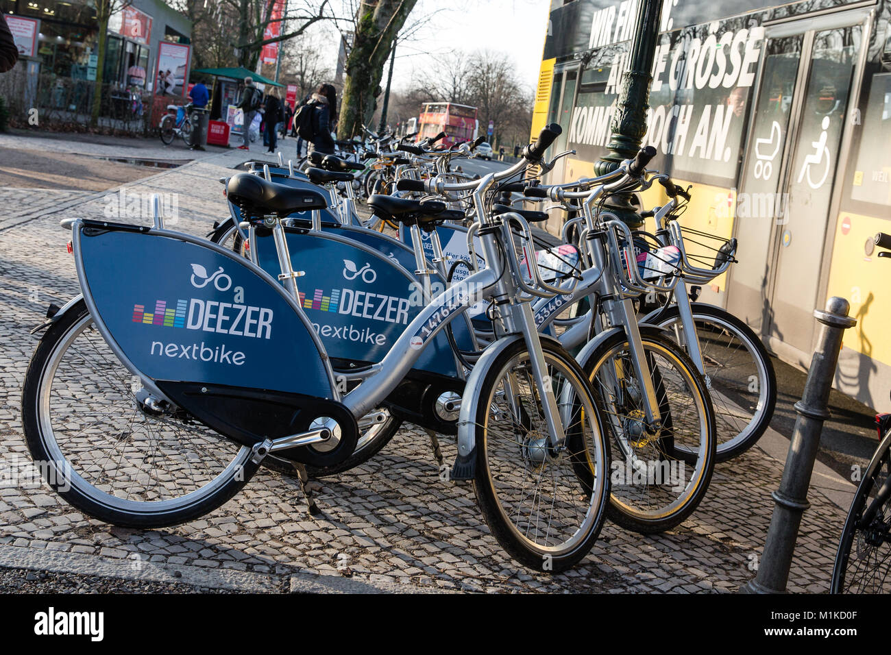 parked deezer public bikes for rent in berlin city center. Black Bedroom Furniture Sets. Home Design Ideas