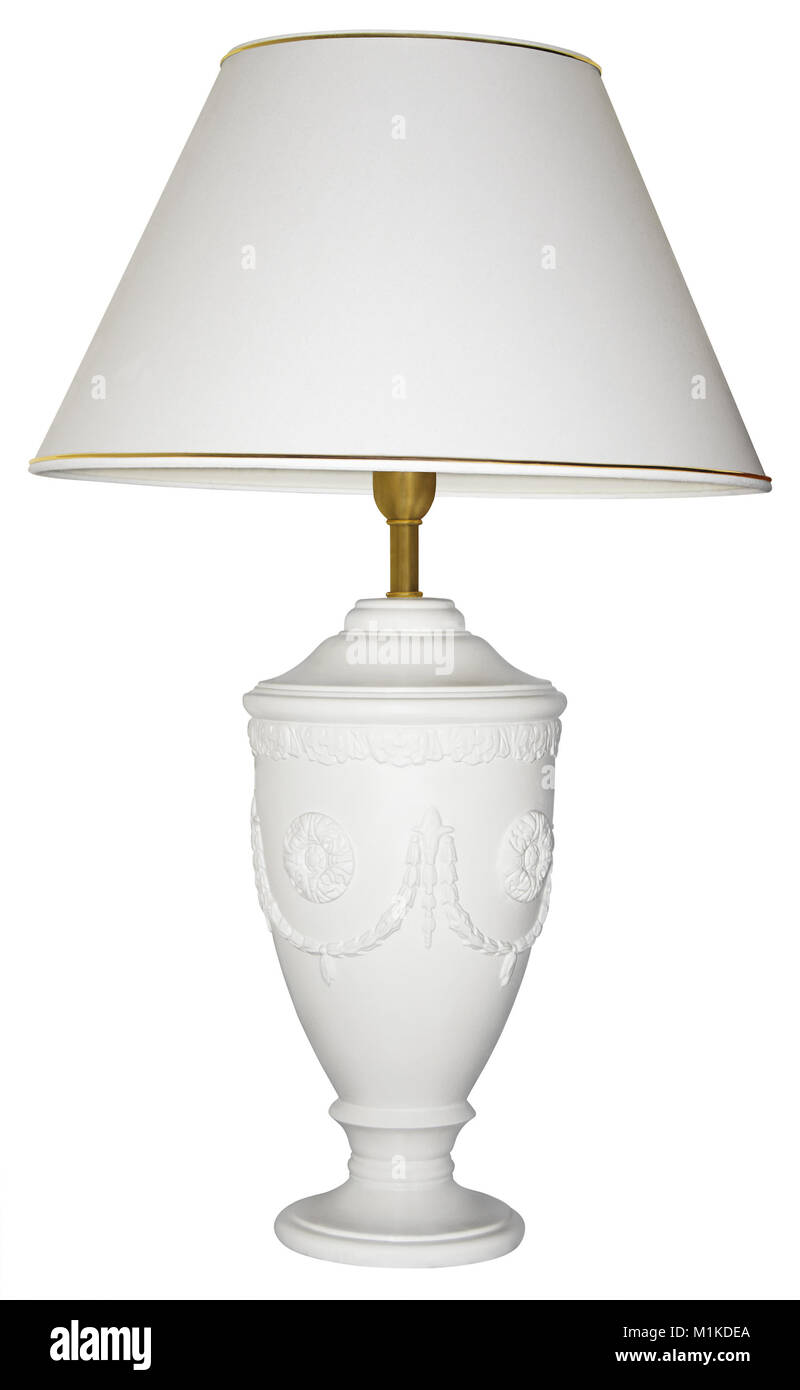 Vintage table lamp isolated with clipping path on white background - Stock Image