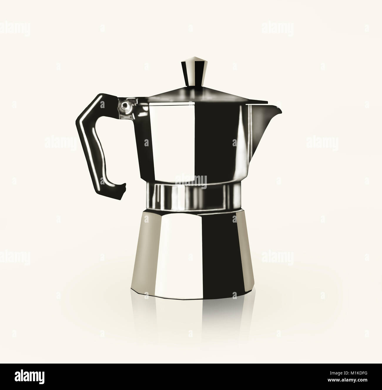Artistic Image Representing A Drawing Of An Italian Coffee Pot