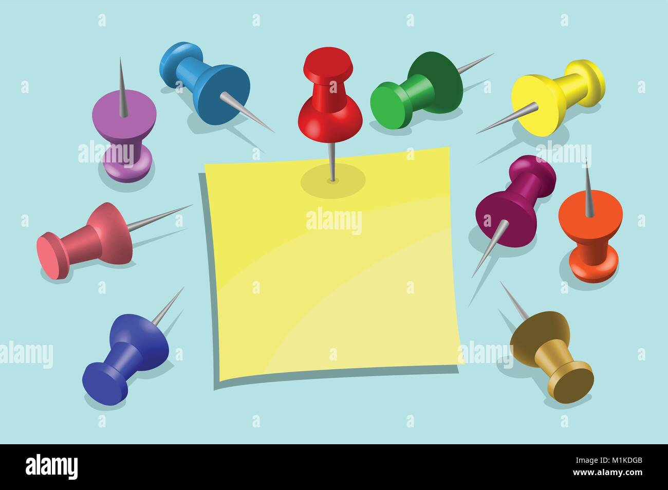 Note Paper and Pushpins. All the objects are in different layers and each one can be use without background and - Stock Vector