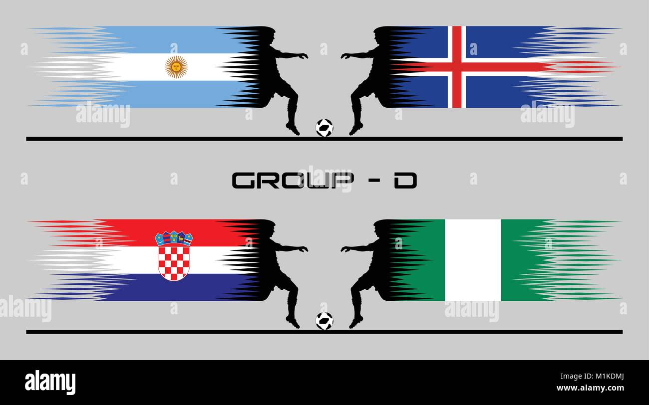 Soccer Matches of Group Stage – D. The text types did converted to outlines and don't need any font. - Stock Vector