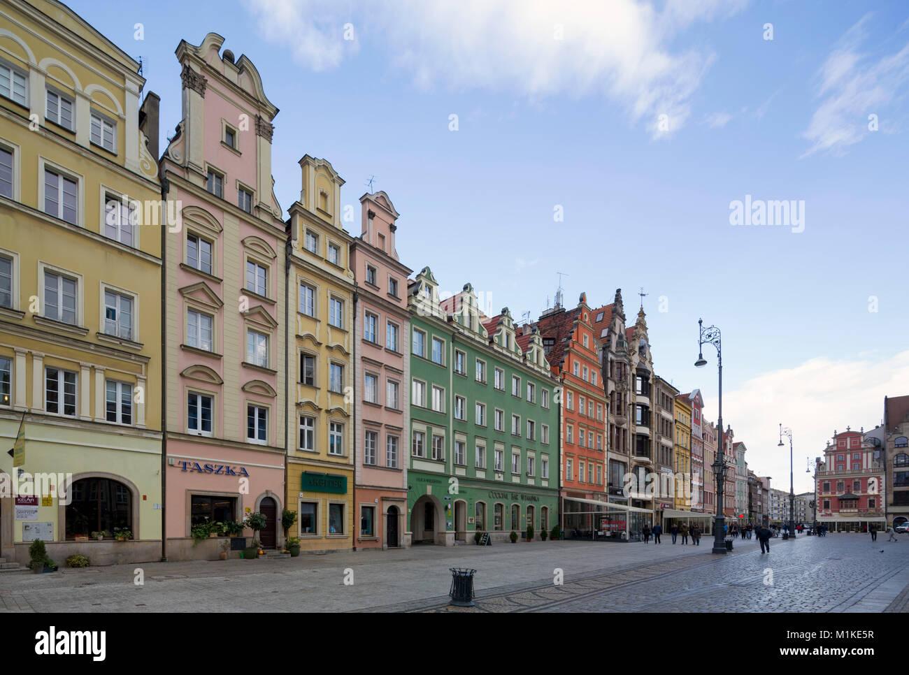 Wroclaw Breslau, Großer Ring (polnisch Rynek), Marktplatz nördlicher Teil, Bürgerhäuser - Stock Image