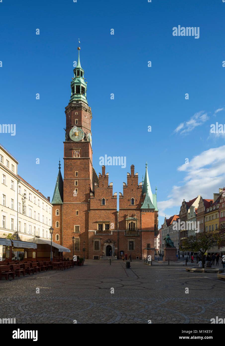 Wroclaw Breslau, Großer Ring (polnisch Rynek), Marktplatz, Rückseite des Alten Rathauses - Stock Image