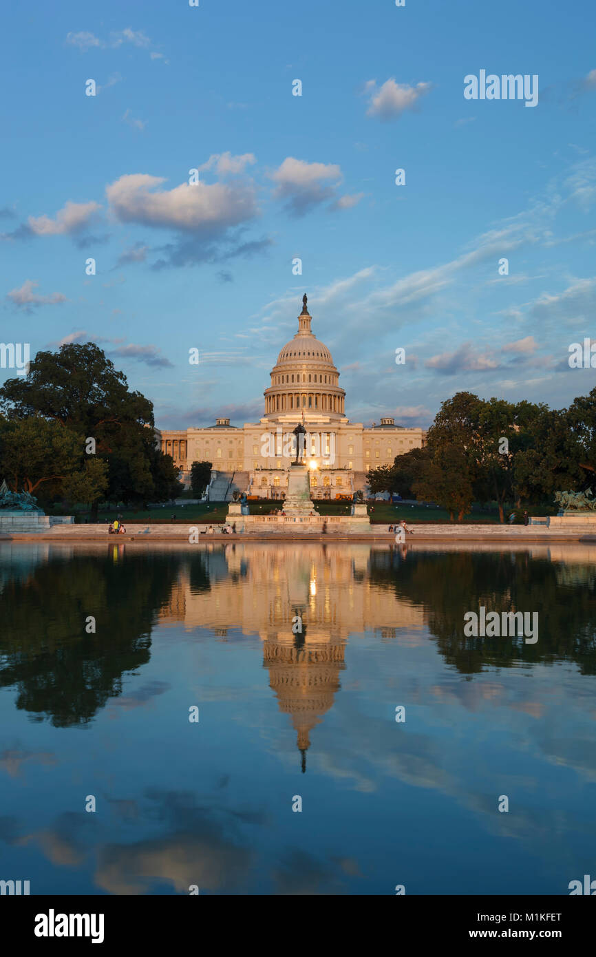 U.S. Capitol Building and Capitol Reflecting Pool, Washington, District of Columbia USA - Stock Image