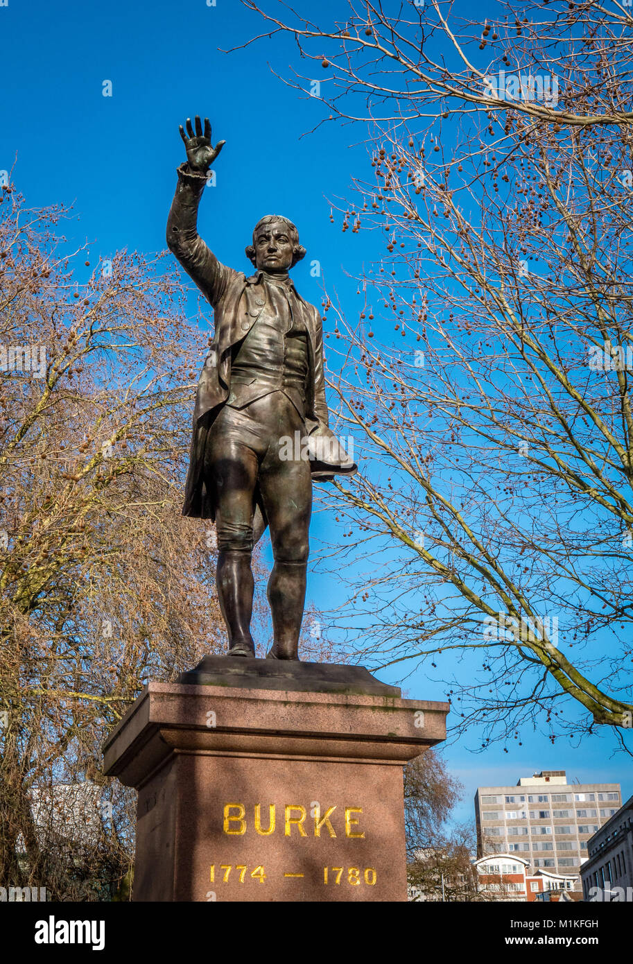 Bronze sculpture of Edmund Burke the Irish political polymath who served as MP for Bristol in the late nineteenth - Stock Image