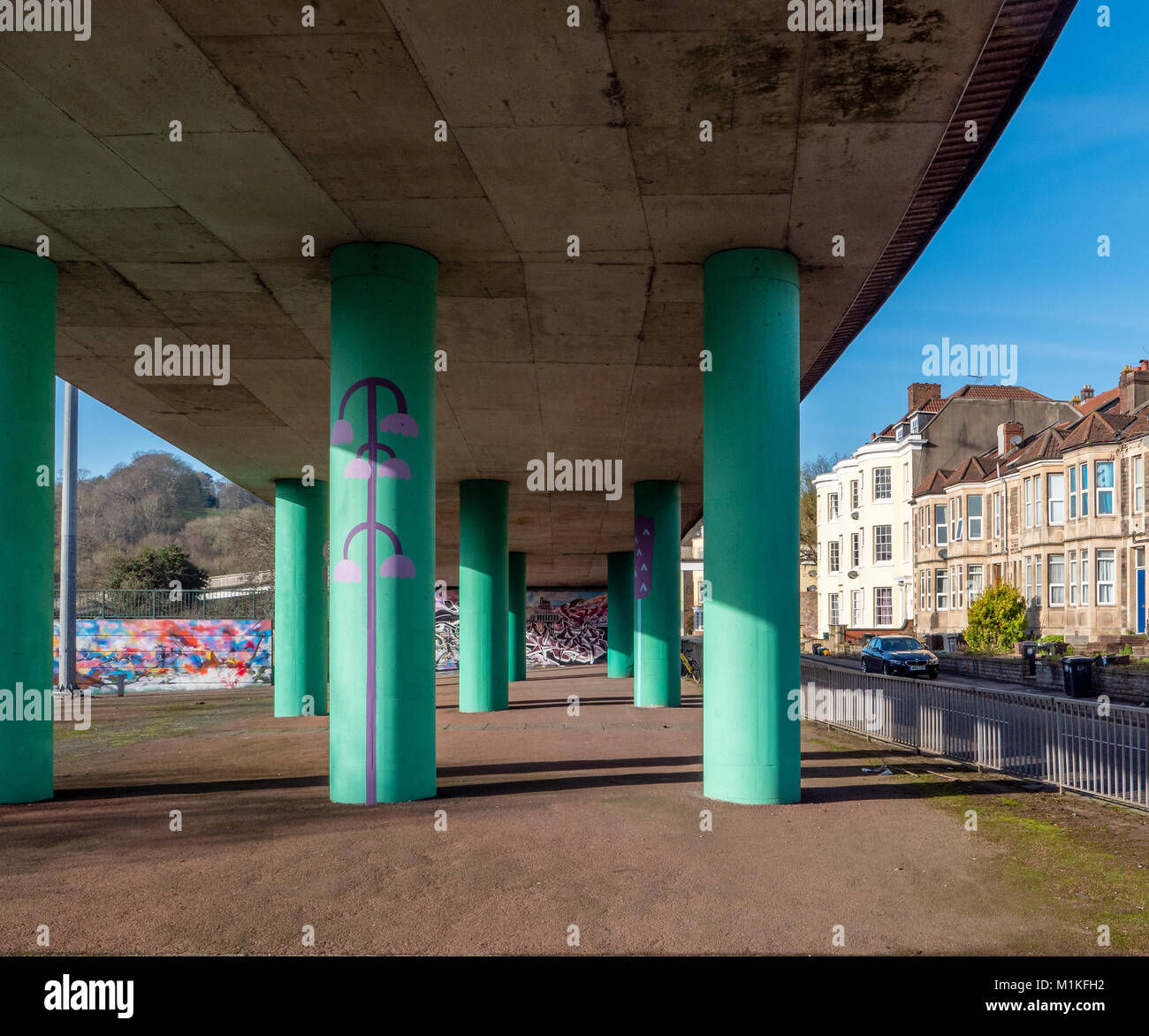 Painted bridge supports under the Cumberland Basin road system linking the A4 with the city ring road in Hotwells - Stock Image