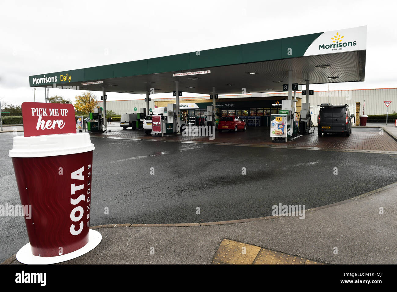 Large plastic Costa Coffee cup on display at a petrol station UK - Stock Image