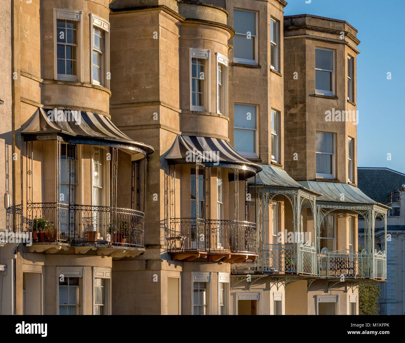 Elegant Georgian bows bays and balconies on Sion Hill facing the Clifton Suspension Bridge in the most fashionable Stock Photo