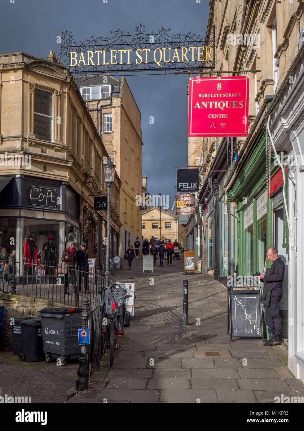 The Bartlett Street Quarter of Bath with its traffic free lanes and stylish shops and cafes - Somerset UK - Stock Image