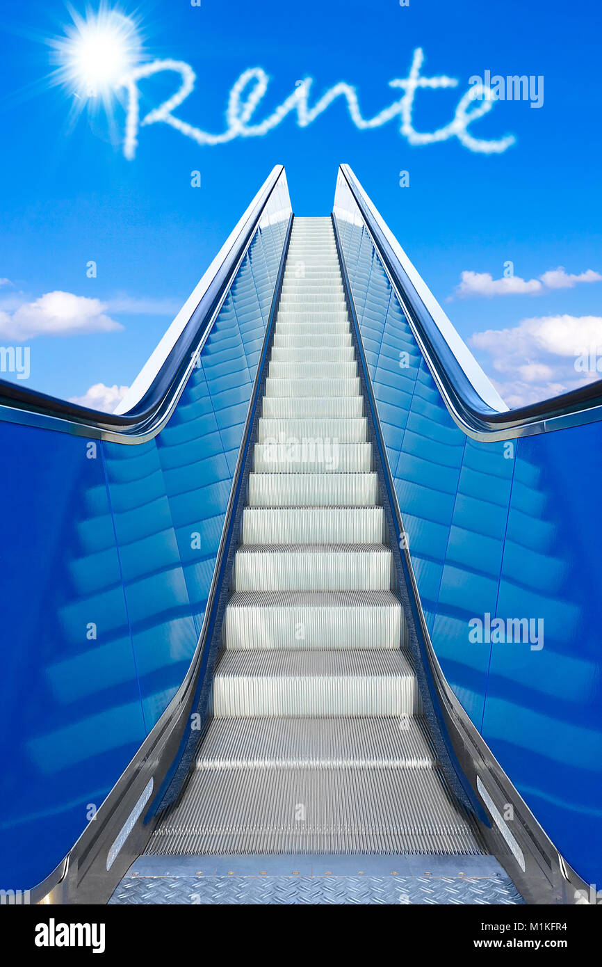 Escalator into a blue sky, concept of achievement, german text RENTE, meaning retirement or pension Stock Photo