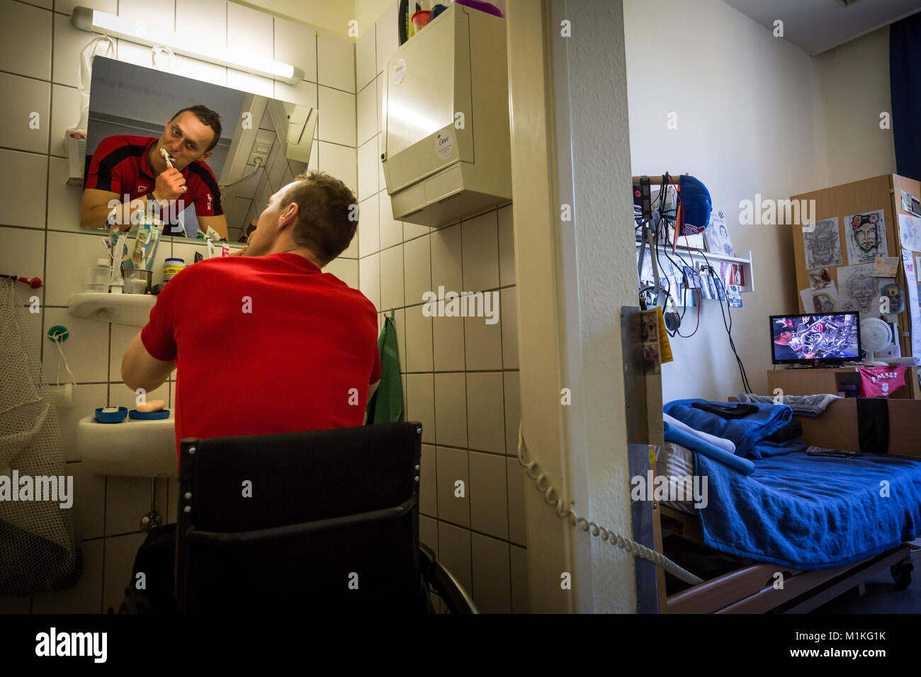 In the care department of the senior prison in Hövelhof the prisoners are looked after behind bars. Stock Photo
