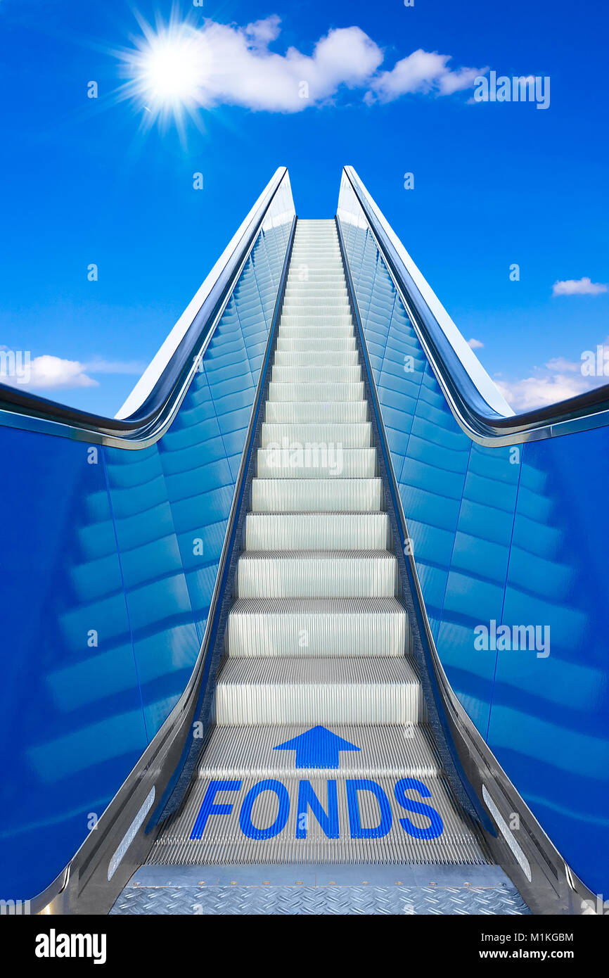 Escalator into a blue sky with german text FONDS meaning funds, concept of achievement, making big profits at the Stock Photo