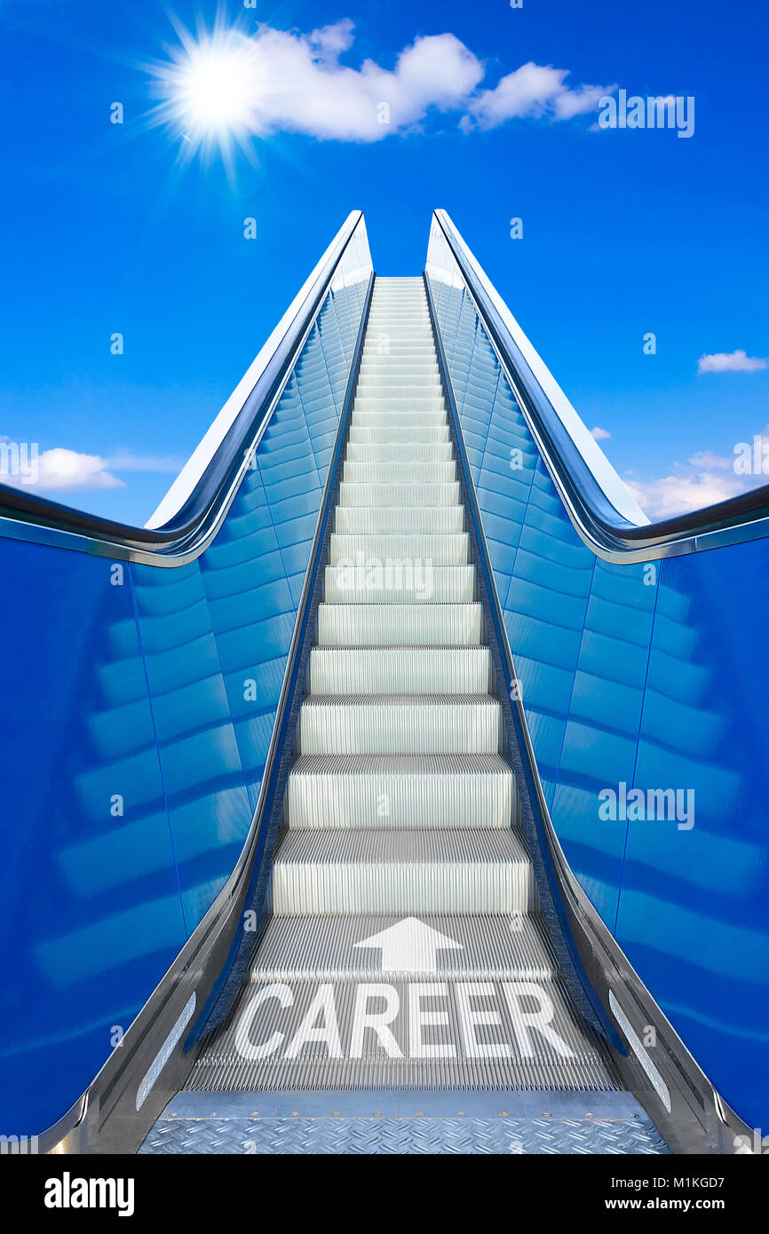 Escalator into a blue sky with text career, concept for achievement of climbing the job ladder effortlessly up to Stock Photo