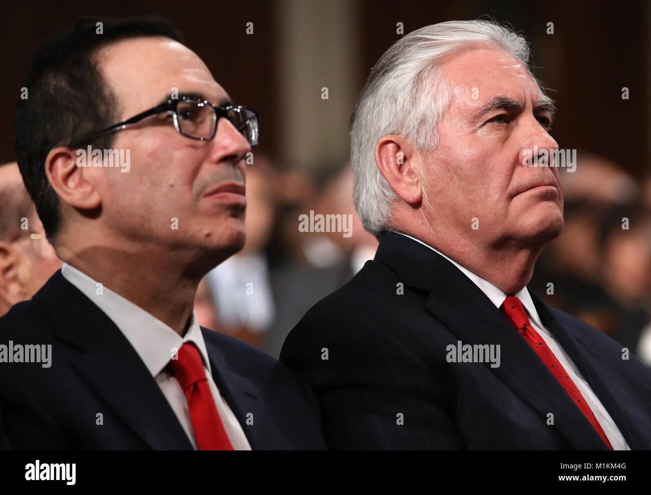 Washington, DC, USA. 30th Jan, 2018. Treasury Secretary Steven Mnuchin (L) and U.S. Secretary of State Rex Tillerson Stock Photo