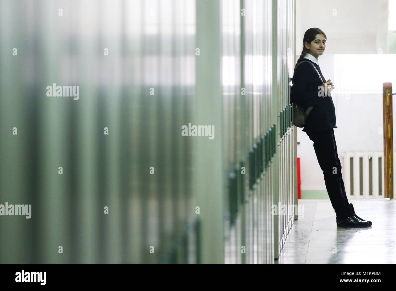 MAKHACHKALA, RUSSIA - JANUARY 30, 2018: A student at the Centre for Gifted Children, a boarding high school in the - Stock Image