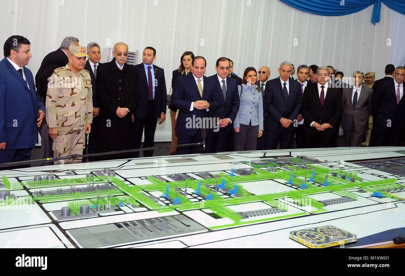 Suez Canal, Port Said, Egypt. 31st Jan, 2018. Egyptian President Abdel Fattah al-Sisi looks at mockups of natural Stock Photo