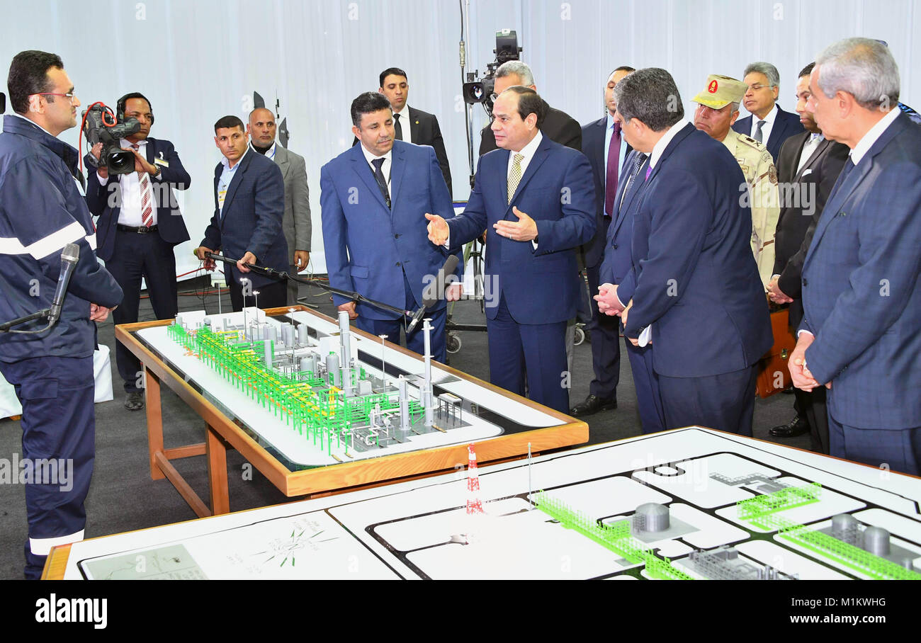 Suez Canal, Port Said, Egypt. 12th Jan, 2016. Egyptian President Abdel Fattah al-Sisi looks at mockups of natural Stock Photo