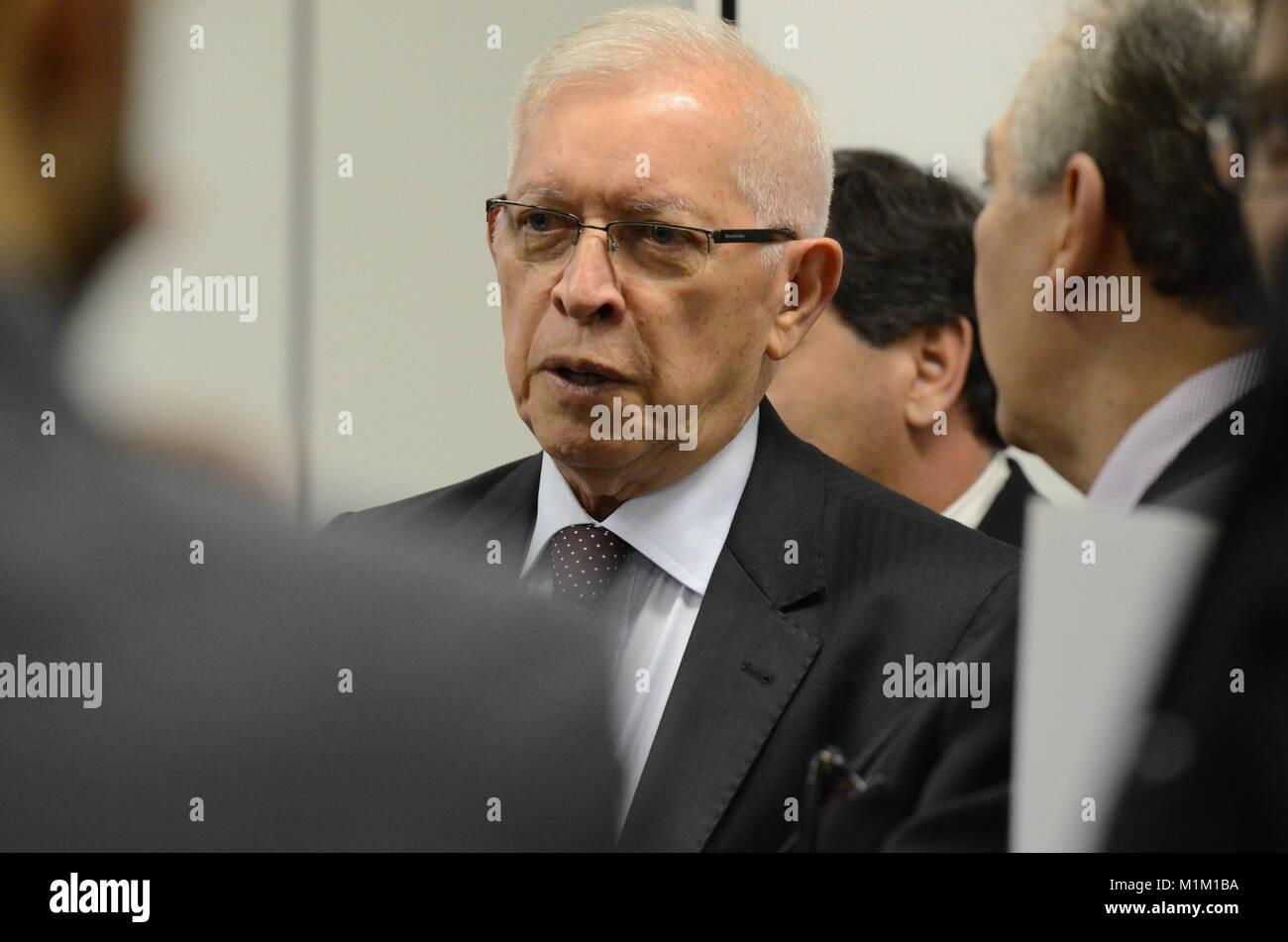 BRASÍLIA, DF - 31.01.2018: DESLIGAMENTO DO SINAL ANALOGICO - The president of Anatel, Juarez Quadros, during - Stock Image