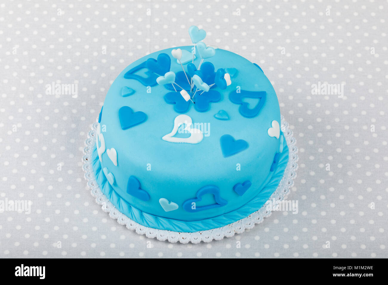 Groovy Birthday Valentine Cake In Blue Color Love Concept Stock Photo Personalised Birthday Cards Cominlily Jamesorg