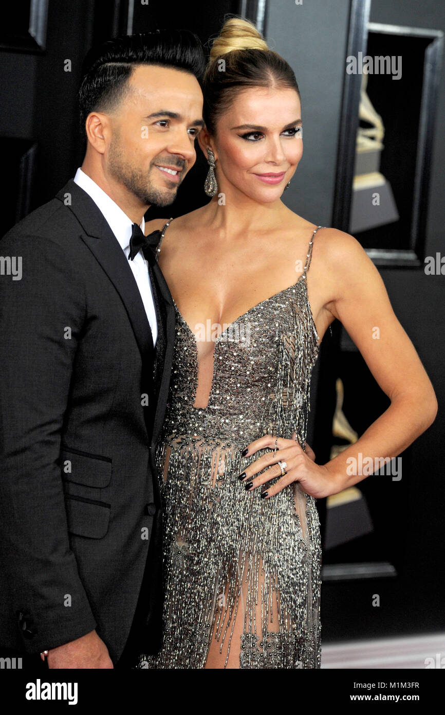 Luis Fonsi and his wife Agueda Lopez attend the 60th Annual Grammy Awards 2018 at Madison Square Garden on January - Stock Image