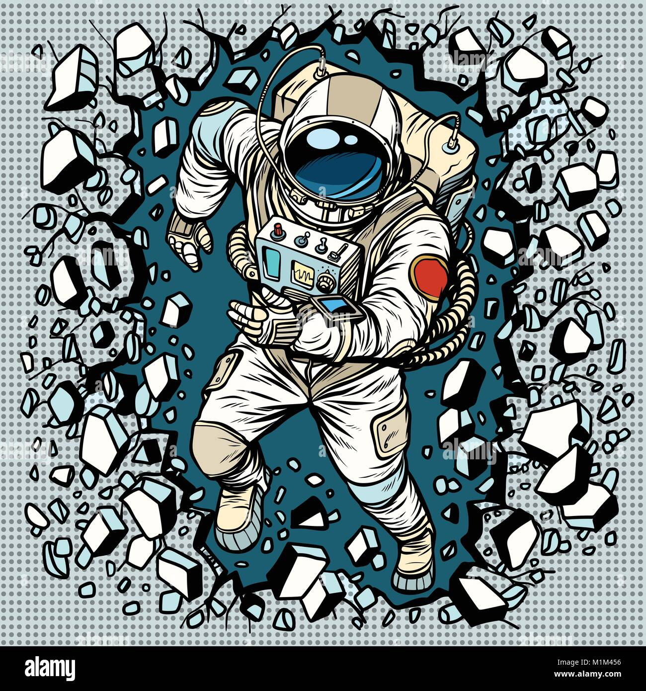 Astronaut breaks the wall, leadership and determination - Stock Vector