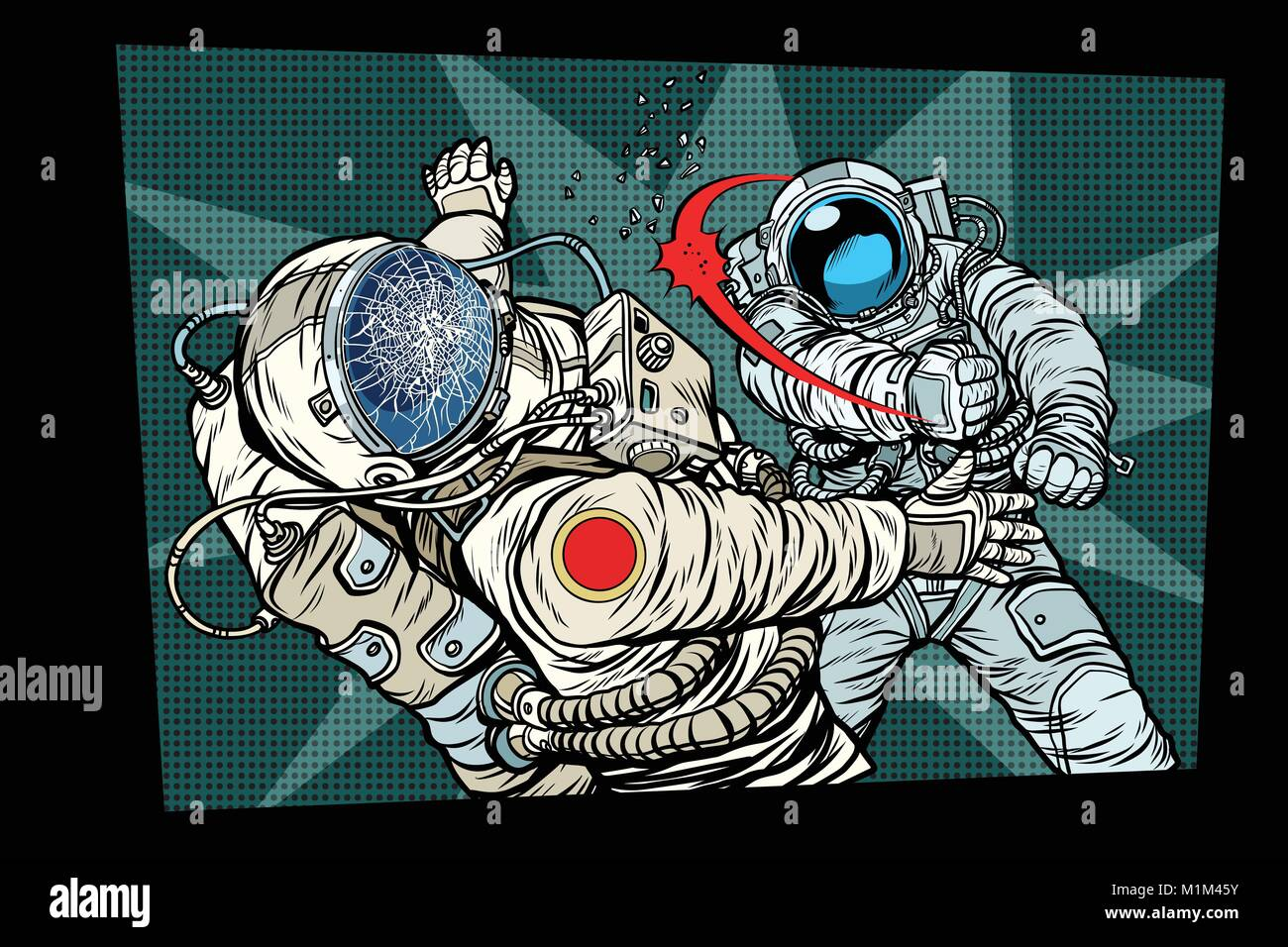 two cosmonauts fight the space war - Stock Vector