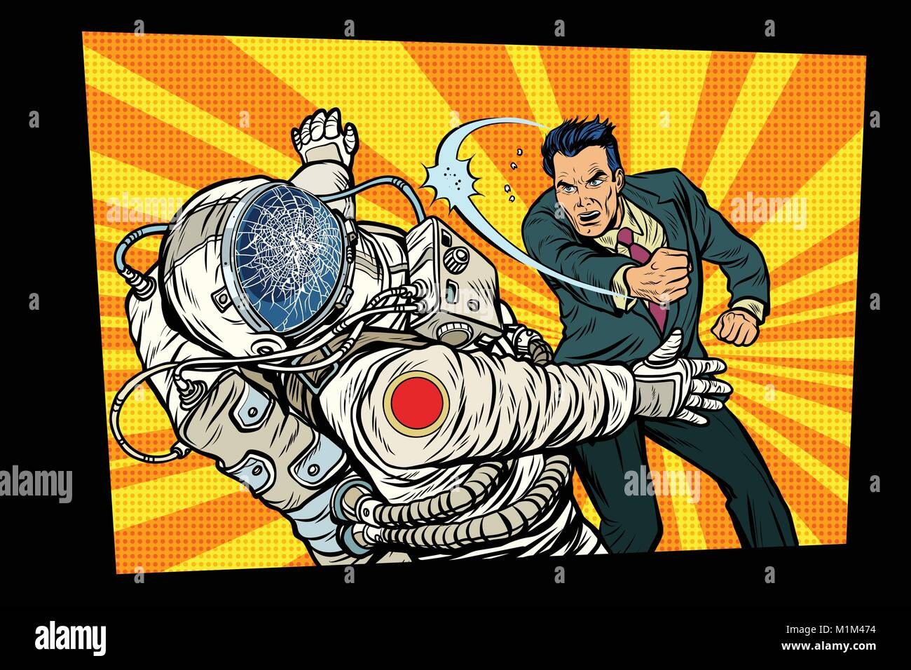 man vs astronaut, fight - Stock Vector