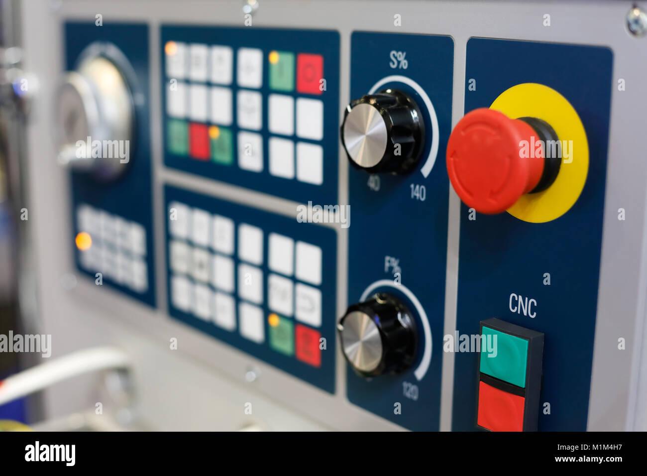 Closeup of the control panel of CNC machining center. Selective focus. - Stock Image