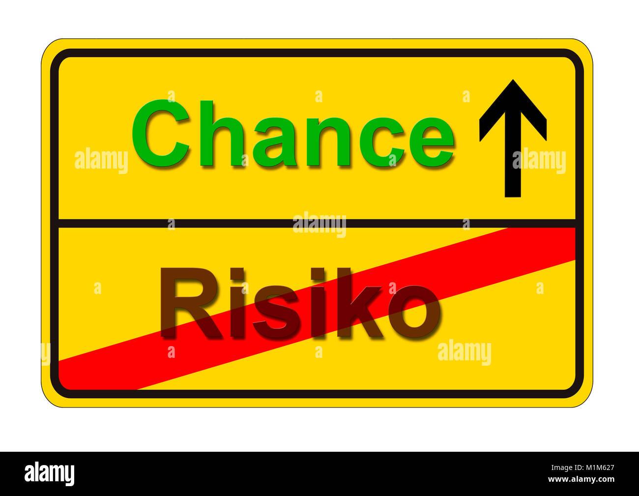 Ortsschild zeigt den Weg von Risiko zur Chance - Stock Image